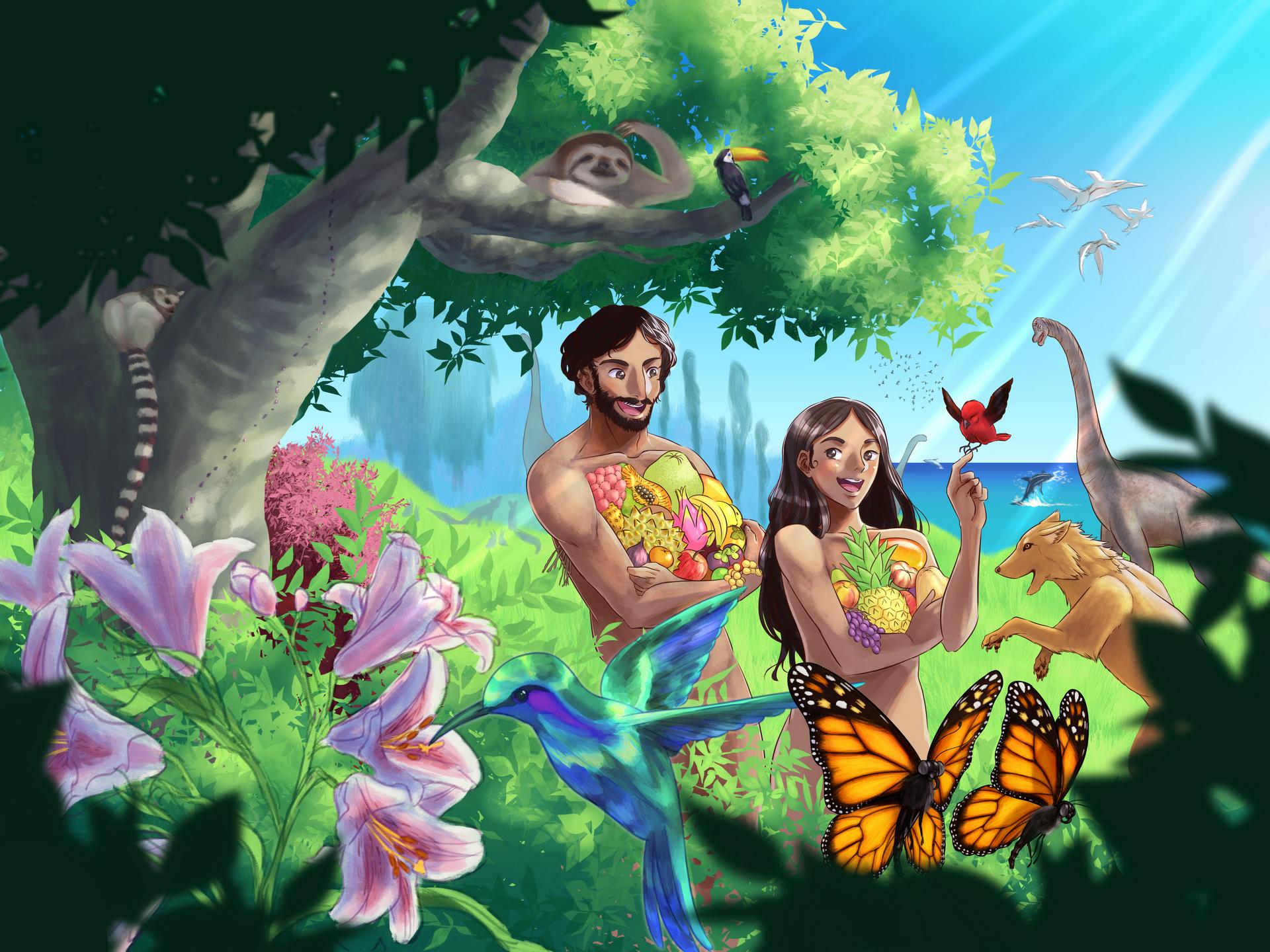 Adam og Eva i Edens hage - Illustrasjon: Johannes Nunpau Engøy